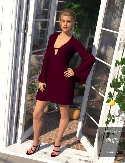 dForce Bell Sleeve Shift Dress for Genesis 8 Female(s)