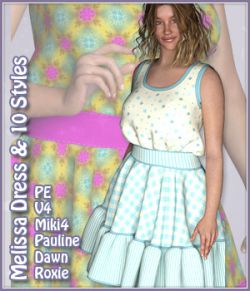 Melissa Dress and 10 Styles for PE, Miki 4, V4, Dawn, Pauline and Roxie