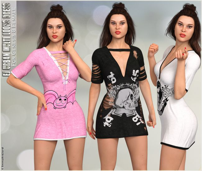 dForce EJ Urban Multi-Looks Dress For Genesis 8 Females