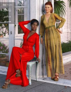 dForce V-Neck Maxie Dress Textures