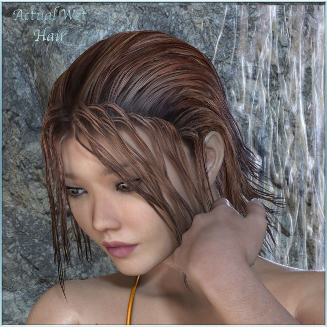 Actual Wet Hair for V4, M4 Poser