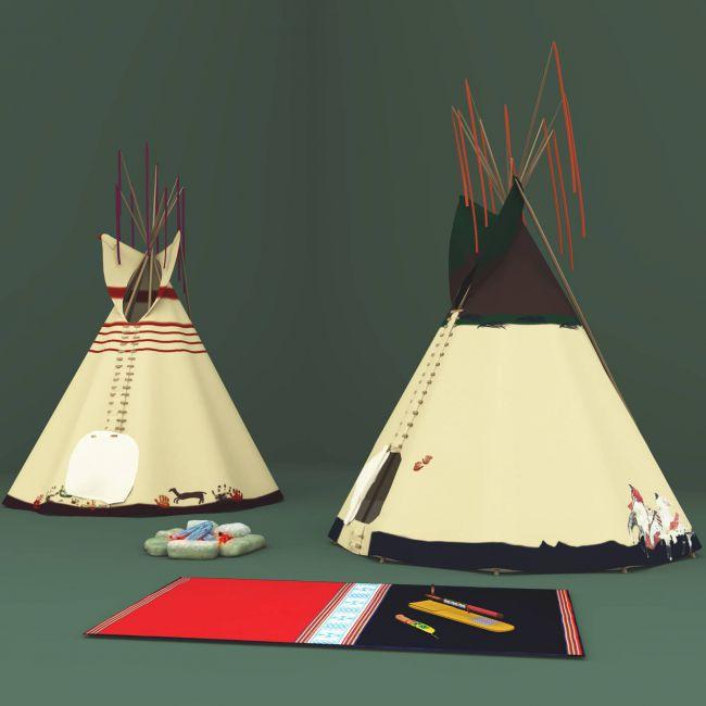 Lakota Tepees, Medicine Pipe and Beaded Sheath Knife For Vue