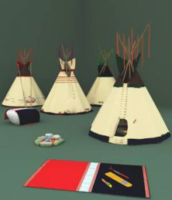 Lakota Tepees, Medicine Pipe and Beaded Sheath Knife For Vue
