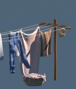 Old Windblown Clothesline