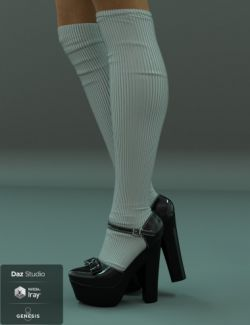 Janet Heels and Socks for Genesis 8 Female(s)