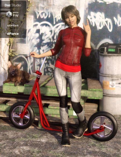 dForce Sleek Rider Outfit for Genesis 8 Female(s)