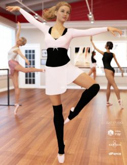 dForce Ballet Practice Outfit for Genesis 8 Female(s)