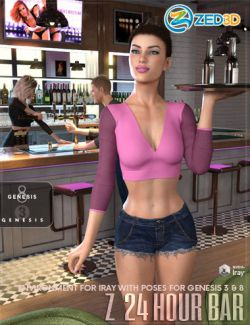Z 24 Hour Bar- Environment with Poses for Genesis 3 and 8