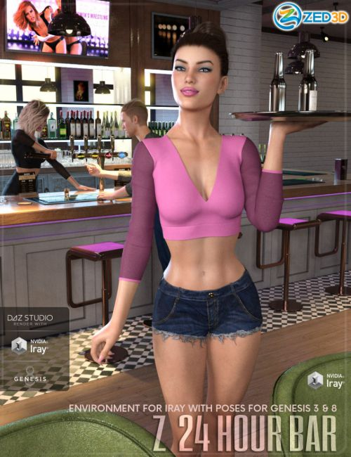 Z 24 Hour Bar - Environment with Poses for Genesis 3 and 8