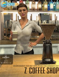 Z Coffee Shop Environment with Poses for Genesis 3 and 8