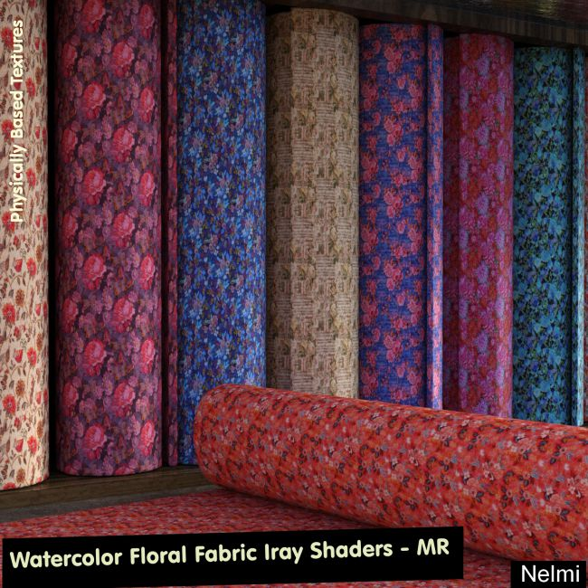 25 Watercolor Floral Fabric Iray Shaders - MR