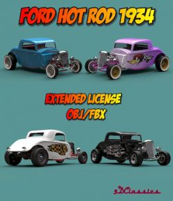 FORD HOT ROD 1934 OBJ FBX EXTENDED LICENSE