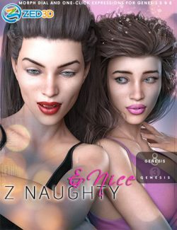 Z Naughty and Nice- Dialable and One-Click Expressions for Genesis 3 and 8 Female