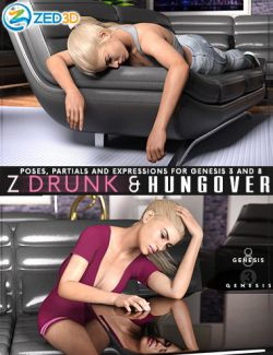 Z Drunk and Hungover- Poses with Partials and Expressions for Genesis 3 and 8