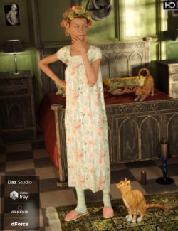 dForce Granny Nightgown Outfit for Genesis 8 Female(s)