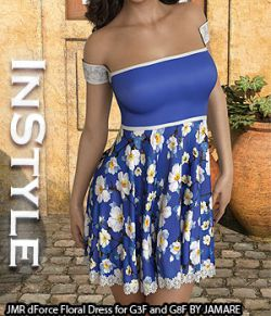 InStyle- JMR dForce Floral Dress for G3F and G8F