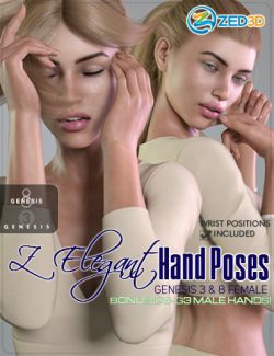 Z Elegant Hand Poses for Genesis 3 and 8 Female and Male