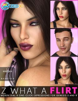 Z What A Flirt- Dialable and One-Click Expressions for Genesis 3 and 8