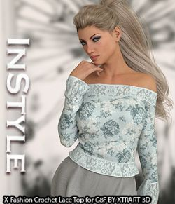 InStyle- X-Fashion Crochet Lace Top for Genesis 8 Female(s)