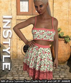 InStyle- JMR dForce Summer Town Outfit for G3F and G8F