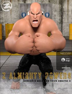 Z Almighty Powers- Poses and Expressions for Toon Dwayne 8 and Genesis 8 Male