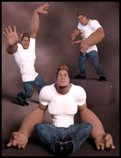 Variety Poses and Expressions for Toon Dwayne 8 and Genesis 8 Male