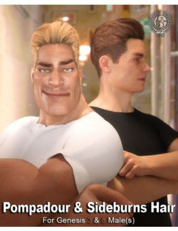 Pompadour and Sideburns Hair for Genesis 3 and 8 Male(s)