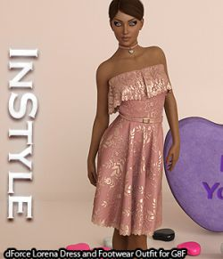 InStyle - dForce Lorena Dress and Footwear Outfit for G8F