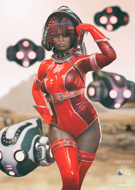 Dark-Space Outfit and Weapons for Genesis 8 Female(s)