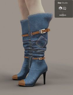 Jiwoo Denim Boots for Genesis 8 Female(s)