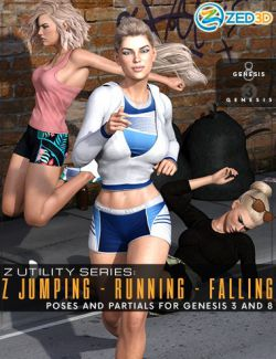 Z Utility Series: Jumping Running Falling- Poses and Partials for Genesis 3 and 8