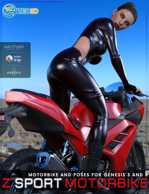Z Sport Motorbike and Poses for Genesis 3 and 8