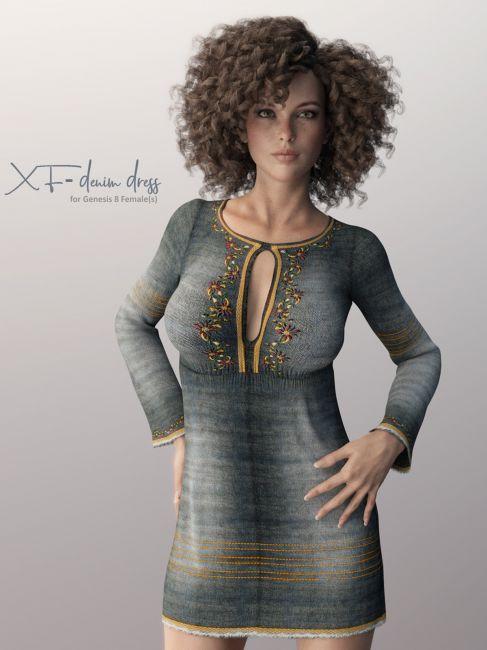 X-Fashion Denim Dress for Genesis 8 Females