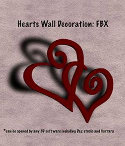 Hearts Wall Decoration FBX - Extended License