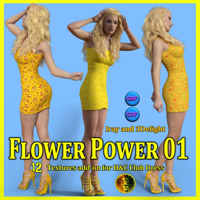 Flower Power 01 for IH Kang Club Dress for Genesis 8 Female and Genesis 3 Female