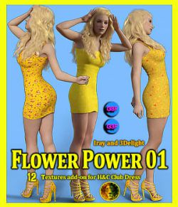 Flower Power 01 for IH Kang Club Dress for Genesis 8 Female and Genesis 3 Female