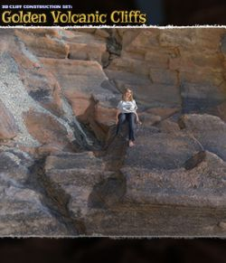 3D Cliff Construction Set: Golden Volcanic Cliffs