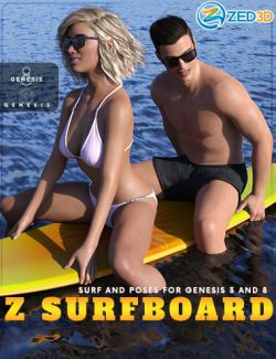 Z Surfboard and Poses for Genesis 3 and 8