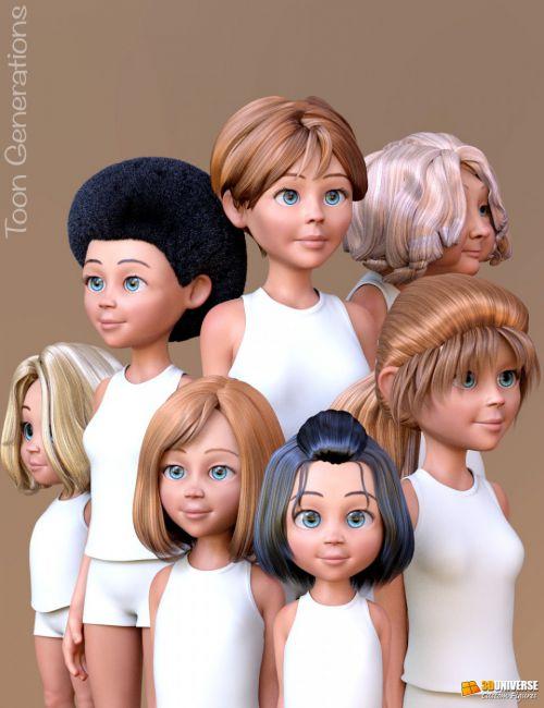 Toon Generations Hair for Genesis 8 Female(s)