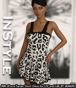 InStyle - JMR dForce Tartan Short Dress for G3F and G8F