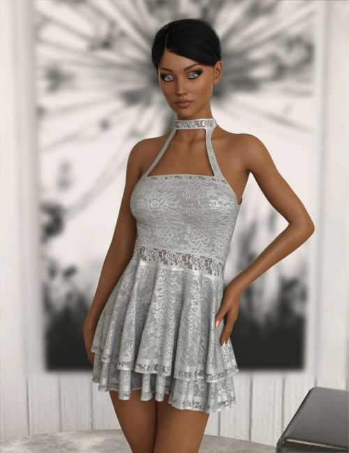 InStyle - JMR dForce Lace Halter Dress for G3F and G8F