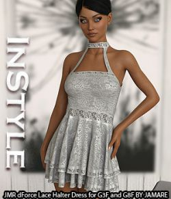 InStyle- JMR dForce Lace Halter Dress for G3F and G8F