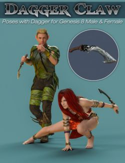 S3D Dagger Claw Prop and Poses for Genesis 8