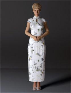 dForce H&C Long Qipao Dress for Genesis 8 Female(s)