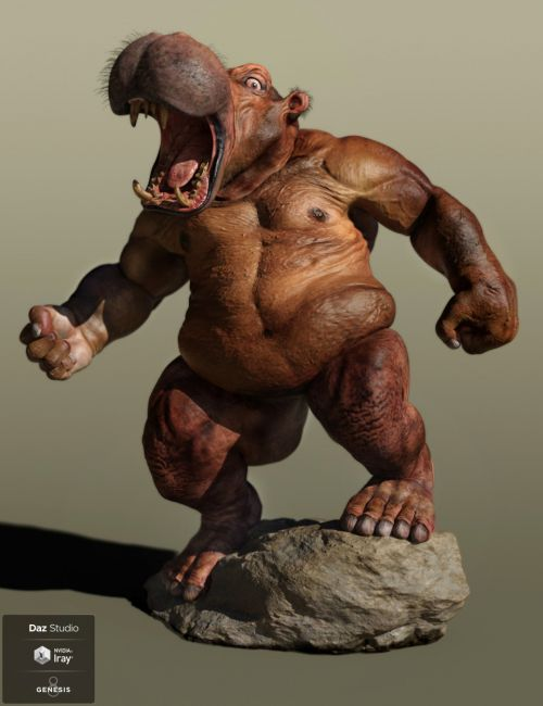 Anthropomorphs - ManHippo HD for Genesis 8 Male