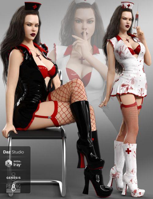 Bloody Nurse Fantasy Costume Set for Genesis 8 Females(s)