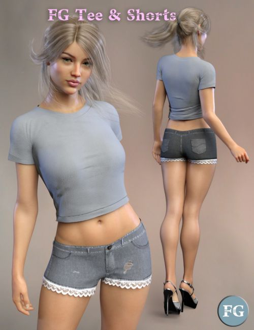 FG dForce T-Shirt and Shorts for Genesis 8 Female(s)