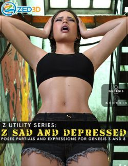 Z Sad and Depressed Poses and Expressions for Genesis 3 and 8