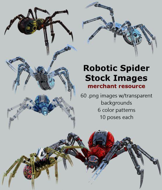 Robotic Spider Stock Image Pack_01 | 3D Models for Poser and Daz Studio