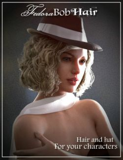 Fedora Bob Hair for Genesis 3 and 8 Female(s)